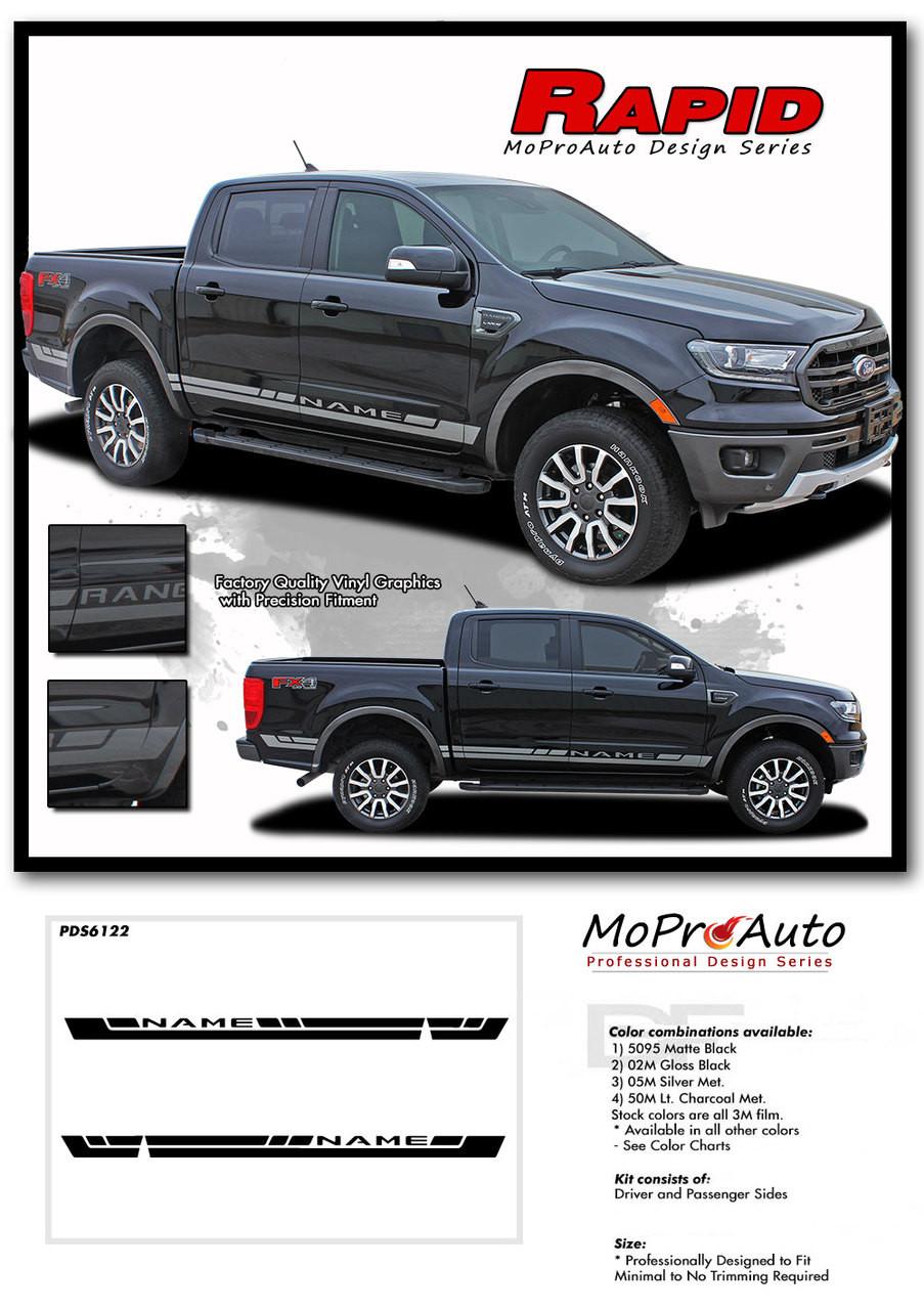 2019 2020 Ford  Ranger RAPID ROCKER Vinyl Graphics and Decals Kit - MoProAuto Pro Design Series