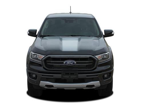 VIM HOOD : Ford Ranger Center Hood Stripes Vinyl Graphics Decals Kit 2019 2020 (M-PDS-6124)