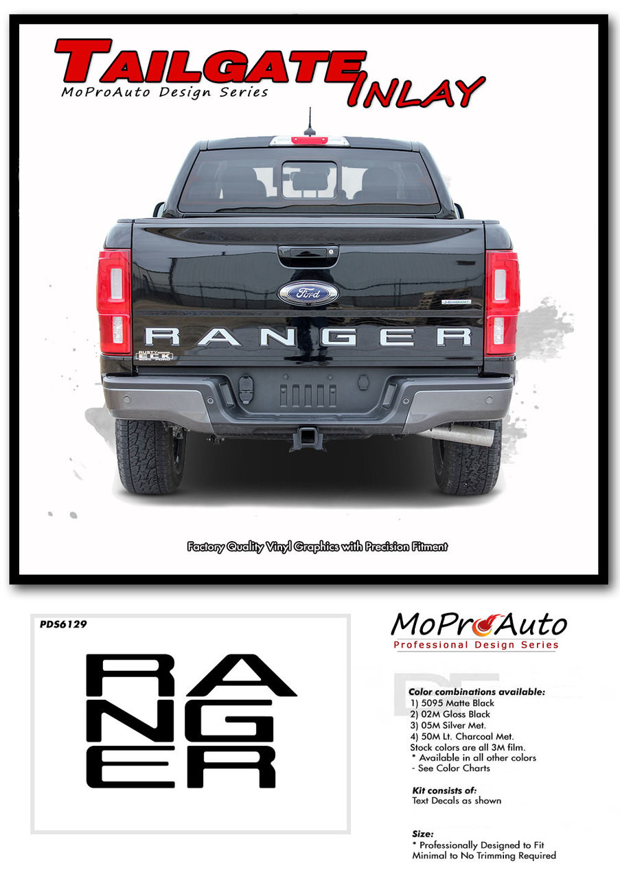 2019 2020 Ford  Ranger REAR TAILGATE LETTERS Vinyl Graphics and Decals Kit - MoProAuto Pro Design Series
