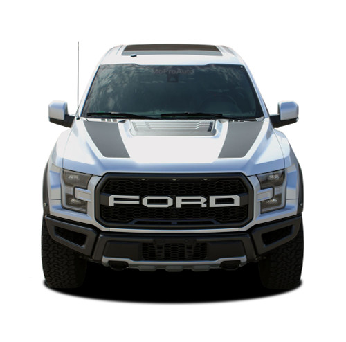 VELOCITOR HOOD : Ford Raptor Split Hood Stripes Vinyl Graphics Decals Kit 2018 2019 2020 (M-PDS-5719)