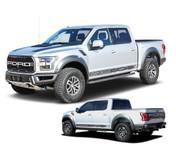 VELOCITOR ROCKERS : Ford Raptor Lower Rocker Panel Stripes Vinyl Graphics Door Decals Kit 2018 2019 2020 (M-PDS-6174)