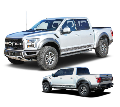 VELOCITOR ROCKERS : Ford Raptor Lower Rocker Panel Stripes Vinyl Graphics Door Decals Kit 2018 2019 2020 (M-PDS-6174)