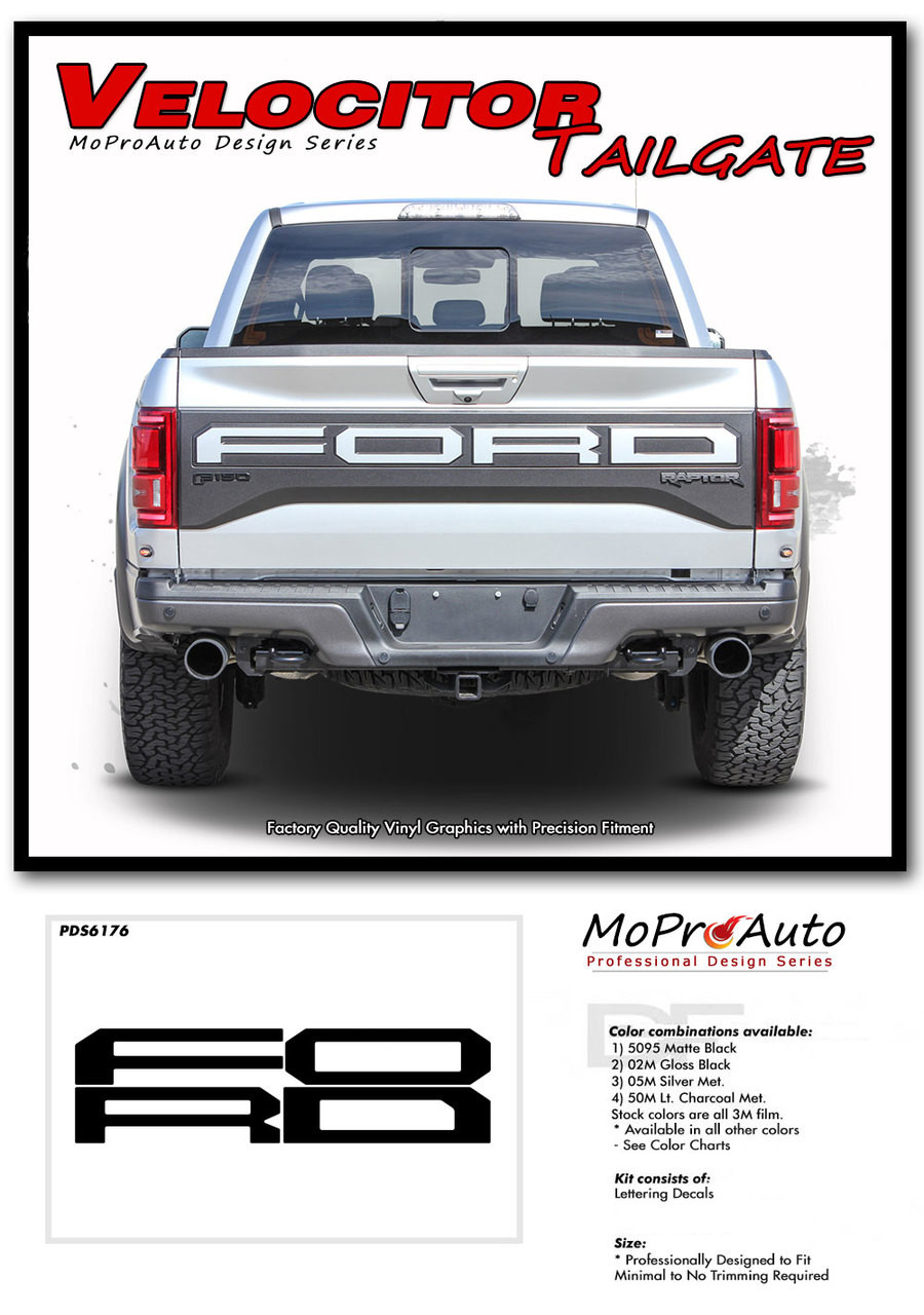 2018 2019 2020 Ford  Raptor VELOCITOR TAILGATE TEXT Vinyl Graphics and Decals Kit - MoProAuto Pro Design Series