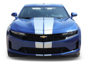 2019 Camaro Racing Stripes TURBO RALLY 19 : Chevy Camaro Hood Decals Center Rally Vinyl Graphics Kit (M-PDS-6260)