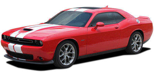 Dodge Challenger Hellcat SRT Racing Stripes AIRSHOT RALLY : Vinyl Graphics Bumper to Bumper Decals fits 2015 2016 2017 2018 2019 (M-PDS-6316)