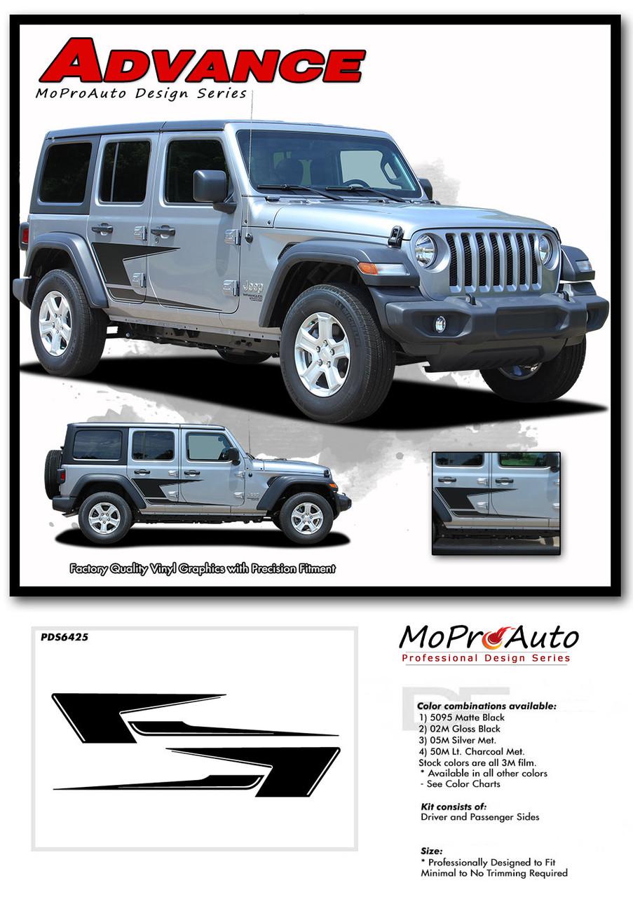 2018 2019 2020 Jeep Wrangler Decals - MoProAuto Pro Design Series Vinyl Graphics and Stripes Kit