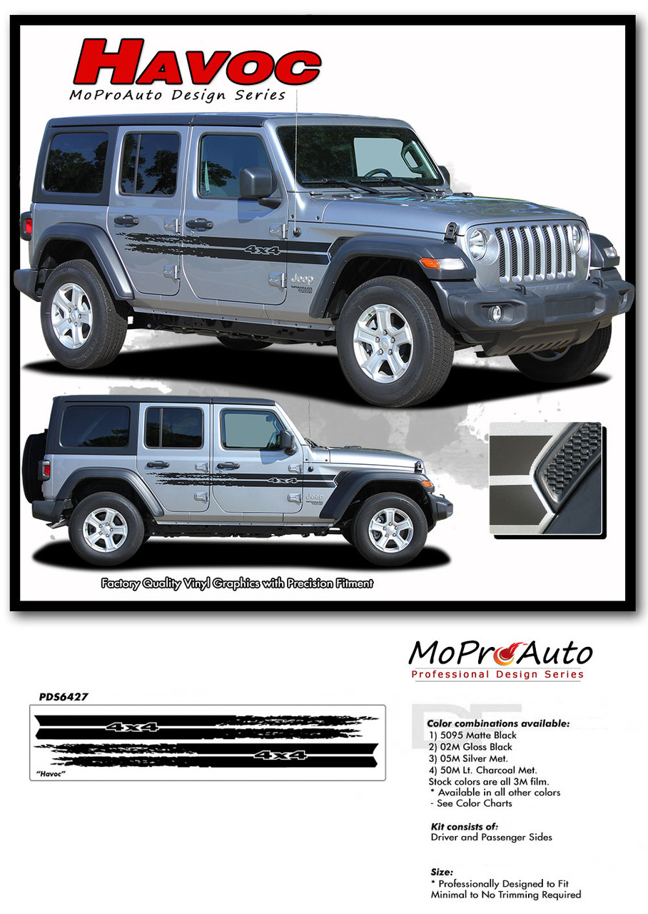 2018 2019 2020 Jeep Wrangler Decals - MoProAuto Pro Design Series Vinyl Graphics and Stripes Kit