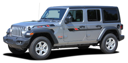 BYPASS : Jeep Wrangler JL Side Door Vinyl Graphics and Hood Decal Stripe Kit for 2007-2017 2018 2019 2020 Models (M-PDS-6429)