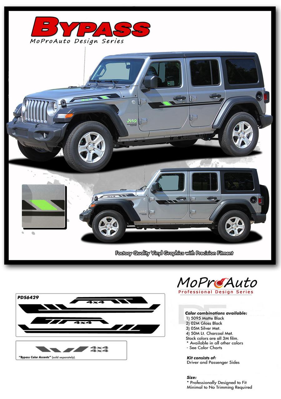 2018 2019 2020 2021 Jeep Wrangler Decals - MoProAuto Pro Design Series Vinyl Graphics and Stripes Kit