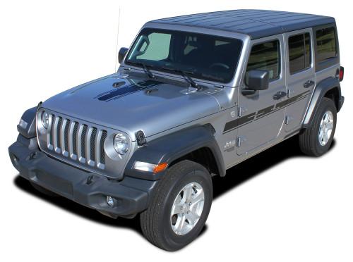 MOJAVE : Jeep Wrangler JL Side Door Vinyl Graphics and Center Hood Decal Stripe Kit for 2007-2017 2018 2019 2020 2021 Models (M-PDS-6423)