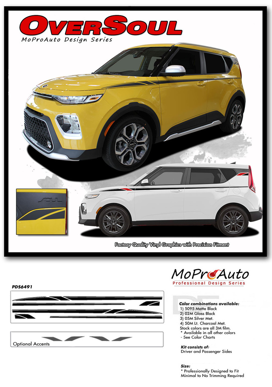 2020 2021 OVERSOUL Kia Soul Decals - MoProAuto Pro Design Series Vinyl Graphics, Stripes and Decals Kit 2014 2015 2016 2017