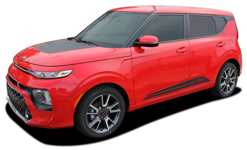 SOULED : 2020 Kia Soul Hood Decals and Lower Rocker Panel Stripes Body Accent Vinyl Graphic Kit fits 2020 Kia Soul Models (M-PDS-6489)