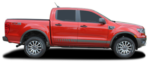 NOMAD ROCKERS : Ford Ranger Lower Rocker Panel Stripes Vinyl Graphics Decals Kit 2019 2020 (M-PDS-6544)