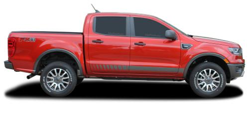 NOMAD ROCKERS : Ford Ranger Lower Rocker Panel Stripes Vinyl Graphics Decals Kit 2019 2020 (M-PDS-6544)