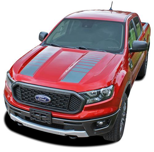 NOMAD HOOD : Ford Ranger Hood Stripes Vinyl Graphics Decals Kit 2019 2020 2021 (M-PDS-6545)