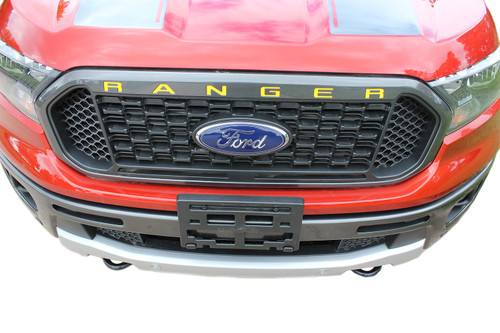 RANGER GRILL LETTERS : Ford Ranger Grill Decals Name Vinyl Graphics Kit fits 2019 2020 (M-PDS-6558)