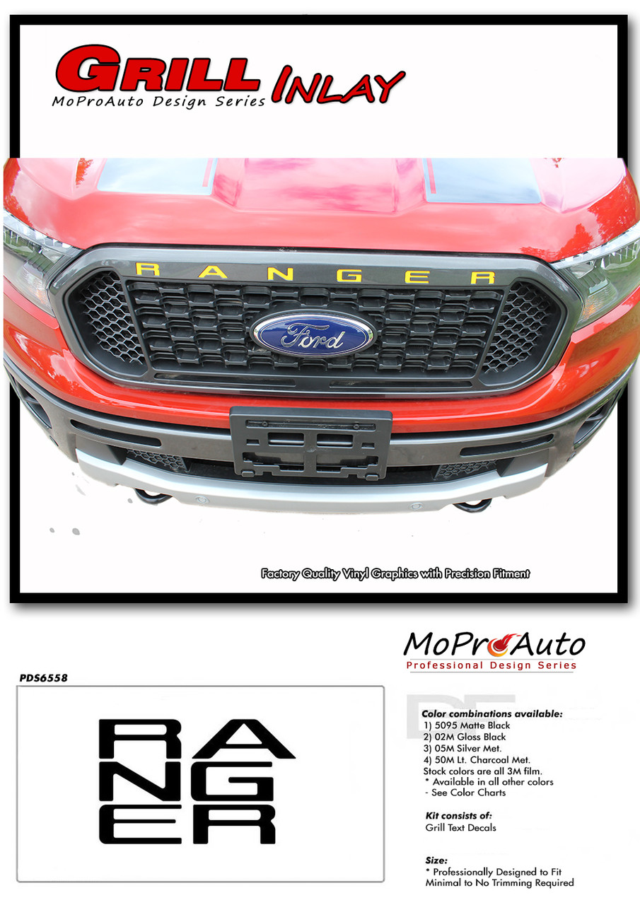 2019 2020 Ford  Ranger Front Grill LETTERS Vinyl Graphics and Decals Kit - MoProAuto Pro Design Series