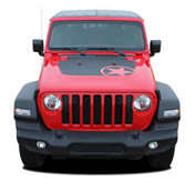 OMEGA HOOD : Jeep Gladiator Hood Decals with Star Vinyl Graphics Stripe Kit for 2020-2021 Models (M-PDS-6697)