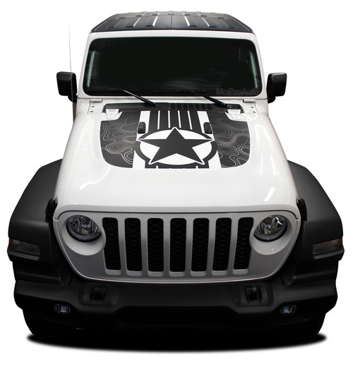 JOURNEY : Jeep Gladiator Hood Decals with Star Vinyl Graphics Stripe Kit for 2020-2021 Models (M-PDS-6716)