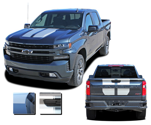 BOW RALLY : Chevy Silverado Racing Stripes Hood Decal Vinyl Graphic Kit fits 2019 2020 (M-PDS-6881)