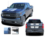 BOW RALLY : Chevy Silverado Racing Stripes Hood Decal Vinyl Graphic Kit fits 2019 2020 2021 (M-PDS-6881)