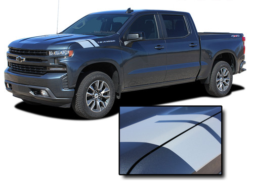 HASHMARK 1500 : Chevy Silverado Fender to Hood Stripes Double Bar Hash Mark Decals Vinyl Graphic Kit fits 2019 2020 (M-PDS-6880)
