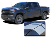 HASHMARK 1500 : Chevy Silverado Fender to Hood Stripes Double Bar Hash Mark Decals Vinyl Graphic Kit fits 2019 2020 2021 (M-PDS-6880)