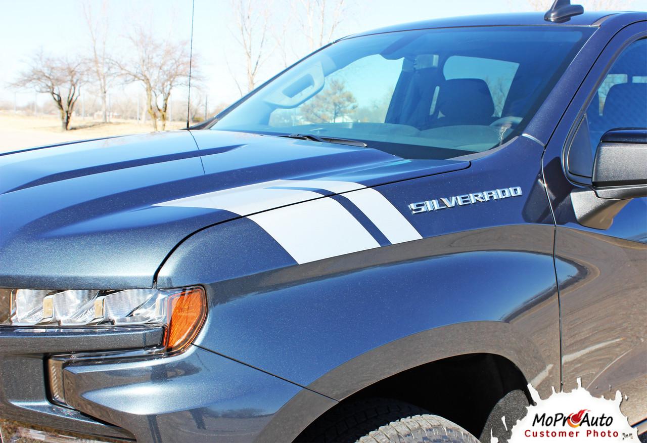 2019 2020 2021 CHEVY SILVERADO HASH MARKS 1500 HOOD DECAL, CHEVY SILVERADO STRIPES, MoProAuto Pro Design Series Vinyl Graphics, Stripes and Decals Kit