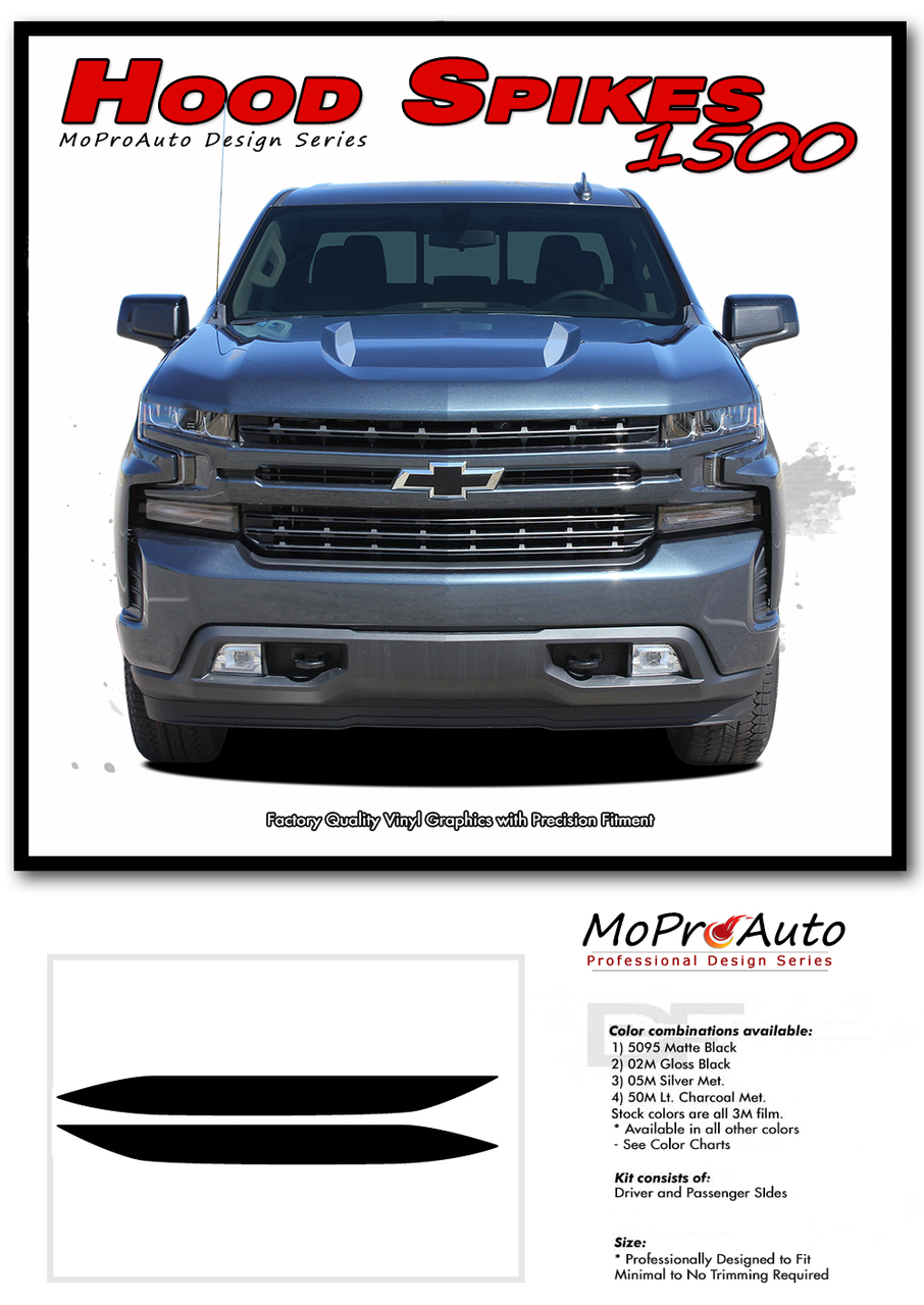 2019 2020 2021 SILVERADO HOOD SPIKES 1500 Hood Stripes - CHEVY SILVERADO - MoProAuto Pro Design Series Vinyl Graphics, Stripes and Decals Kit