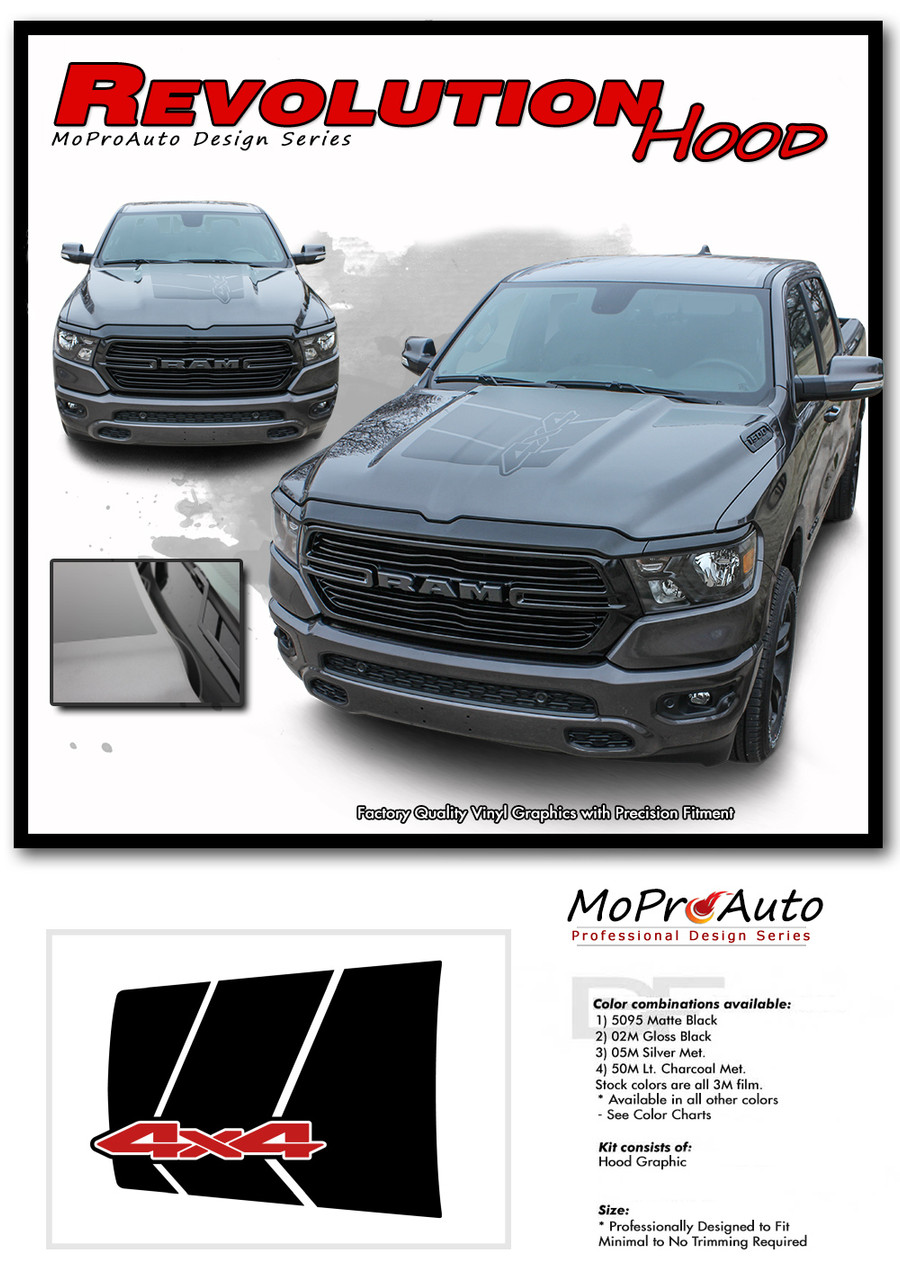 REVOLUTION HOOD Dodge Ram Rebel Hood Decals, 2019 2020 Dodge Ram Hood Stripes Vinyl Graphics Kit