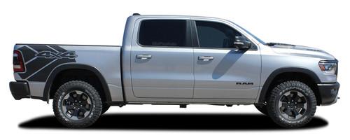 REVOLUTION SIDES : 2019 2020 Dodge Ram Rebel Side Bed Decals Vinyl Graphic Stripe Kit (M-PDS-6940)