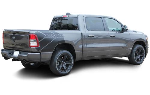 REVOLUTION 1500 SIDES : 2019 2020 Dodge Ram 1500 Side Bed Decals Vinyl Graphic Stripe Kit (M-PDS-6958)