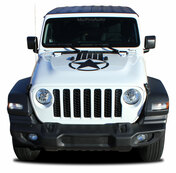 ALPHA STAR HOOD : Jeep Gladiator Hood Graphics with Star Vinyl Graphics Stripe Kit for 2020-2021 Models (M-PDS-7008)