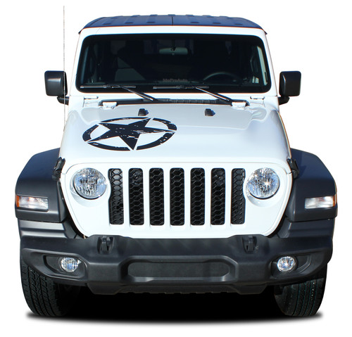 LEGEND STAR HOOD : Jeep Gladiator Hood Graphics with Distressed Star Vinyl Decals Stripe Kit for 2020-2021 Models (M-PDS-7011)