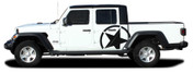 ALPHA STAR SIDES : Jeep Gladiator Side Body Star Vinyl Graphics Decal Stripe Kit for 2020-2021 Models (M-PDS-7009)