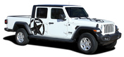 LEGEND STAR SIDES : Jeep Gladiator Side Body Distressed Star Vinyl Graphics Decal Stripe Kit for 2020-2021 Models (M-PDS-7012)