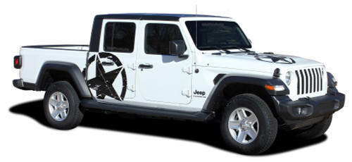 LEGEND STAR SIDES : Jeep Gladiator Side Body Distressed Star Vinyl Graphics Decal Stripe Kit for 2020-2021 Models (M-PDS-7012)