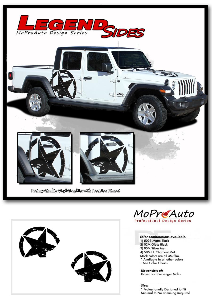 2020, 2021 Jeep Gladiator Decals - MoProAuto Pro Design Series Vinyl Graphics and Stripes Kit