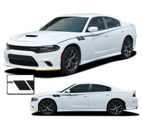 FIERCE : Dodge Charger Body Stripes Side Door Decals Vinyl Graphics fits 2015-2020 (M-PDS-7145)