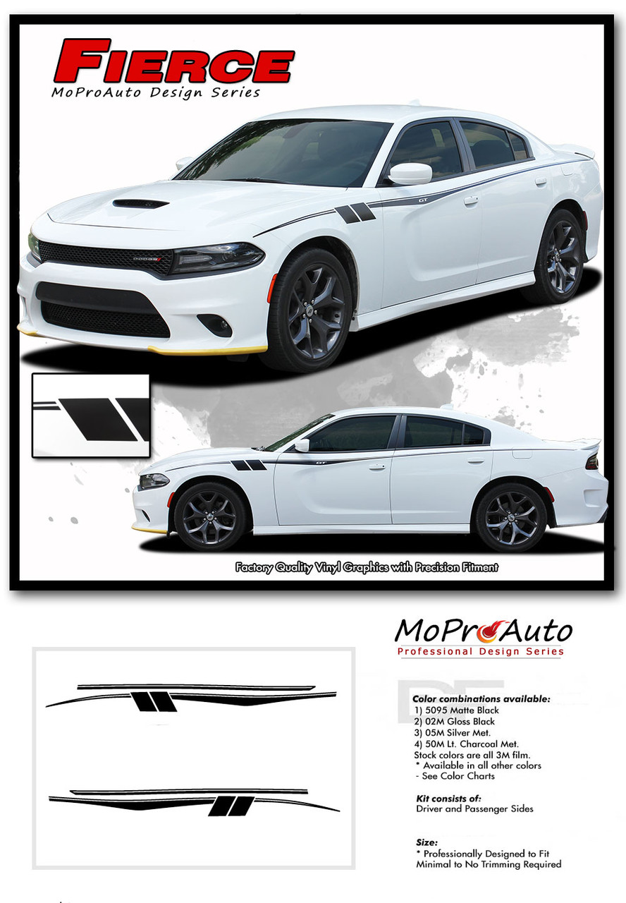 2015, 2016, 2017, 2018, 2019, 2020 Dodge Charger FIERCE Side Body Door Vinyl Graphics, Stripes and Decals Set