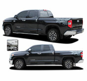 BURST : Toyota Tundra Rear Bed Vinyl Graphics with Upper Body Accent Stripe Decals Kit for 2015-2021 Models (M-PDS-7203)