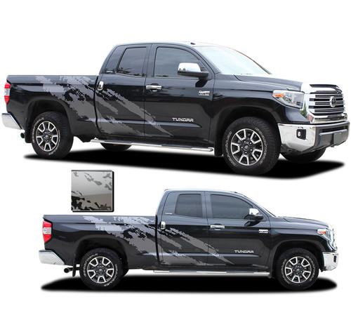 FRENZY : Toyota Tundra Side Body Vinyl Graphics Splash Design Decal Stripes Kit for 2015-2021 Models (M-PDS-7208)