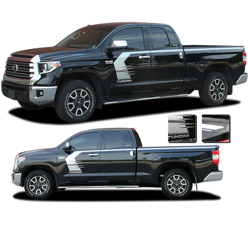 TEMPEST: Toyota Tundra Side Body Vinyl Graphics Door to Bed Upper Accent Decal Stripes Kit for 2015-2021 Models (M-PDS-7206)