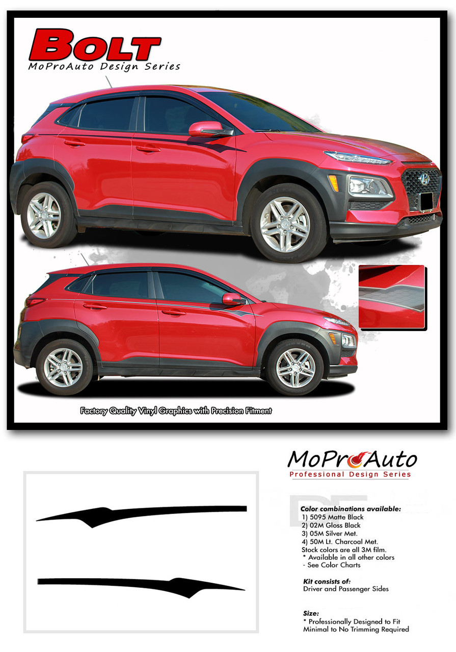Hyundai Kona BOLT Vinyl Graphics Kit Engineered to fit the 2018 2019 2020 2021 2022 Hyundai Kona Vinyl Graphics, Stripes and Decals Kit