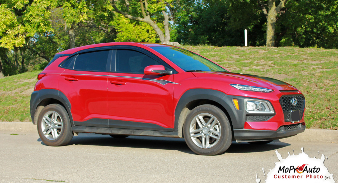 Hyundai Kona BOLT Vinyl Graphics Kit Engineered to fit the 2018 2019 2020 2021 2022 Hyundai Kona Vinyl Graphics, Stripes and Decals Kit by MoProAuto