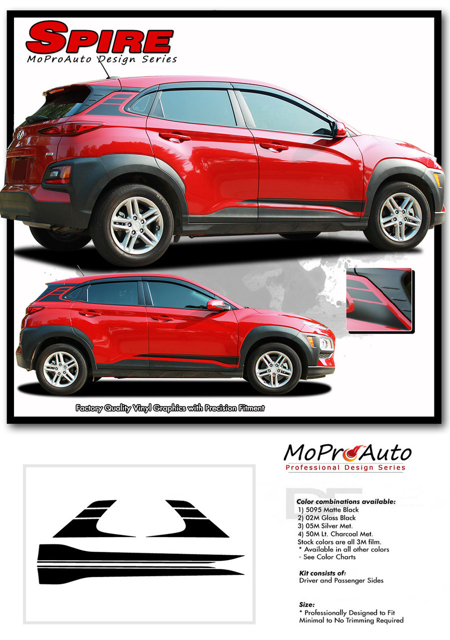 Hyundai Kona SPIRE Vinyl Graphics Kit Engineered to fit the 2018 2019 2020 2021 2022 Hyundai Kona Vinyl Graphics, Stripes and Decals Kit