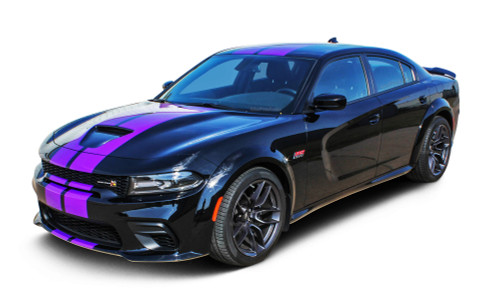 N-CHARGE RALLY WIDEBODY : Dodge Charger Racing Stripes Wide Body R/T Scat Pack SRT 392 Hellcat Rally Graphics Decals Kit 2015-2021 (M-PDS-4467-7299)