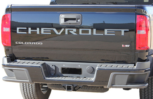 TAILGATE TEXT : 2021 Chevy Colorado Rear Tailgate Letter Decals Text Accent Vinyl Graphic Kit (M-PDS-7367)