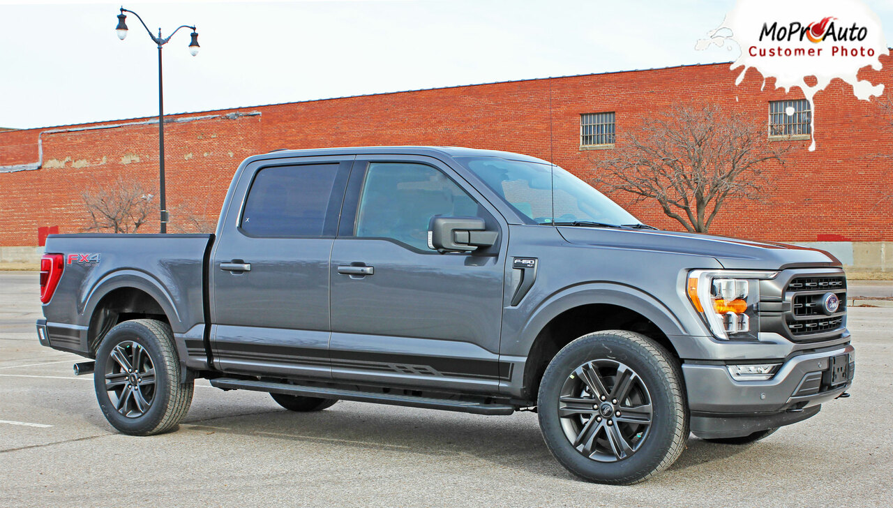 2015, 2016, 2017, 2018, 2019, 2020, 2021 Ford  F-150 ROCKER THREE Vinyl Graphics and Decals Kit - MoProAuto Pro Design Series