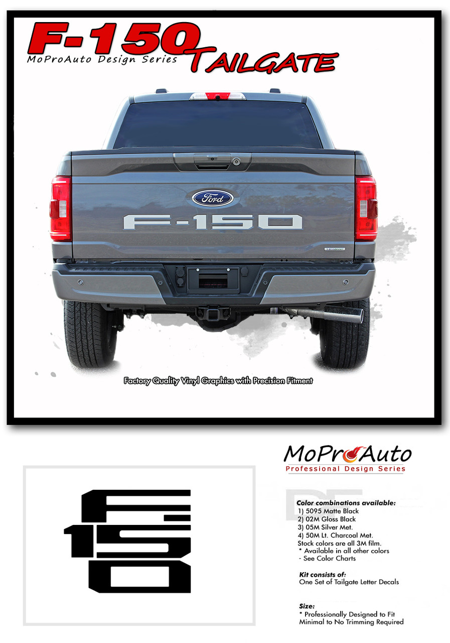 2021 Ford F-150 Rear Tailgate Text Decals Letter Stripes Vinyl Graphics Kit - MoProAuto Pro Design Series